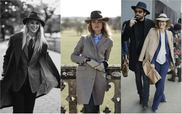 Мужские шляпы (федора, трилби) и одежда прямого кроя