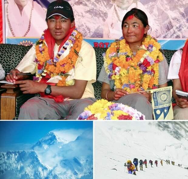 Свадьба непальской пары на Эвересте.