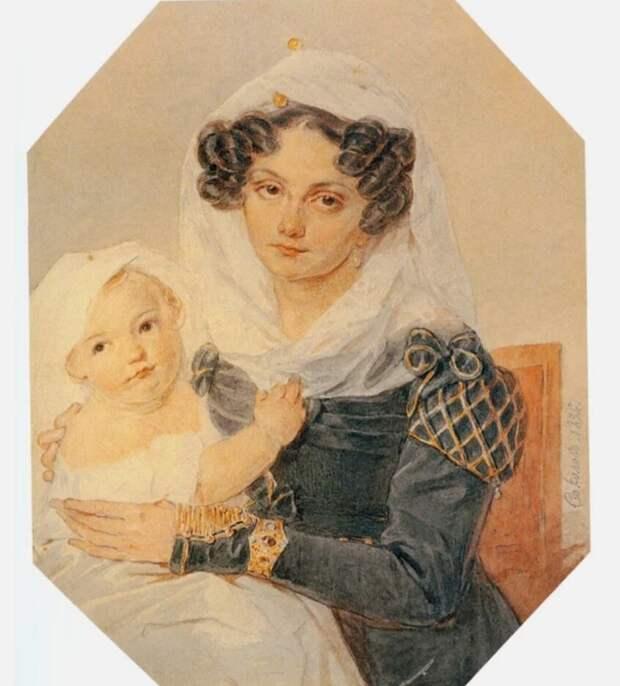 П. Соколов. Портрет княгини М. Н. Волконской с сыном Николаем, 1826 год. Источник: wikiCommons