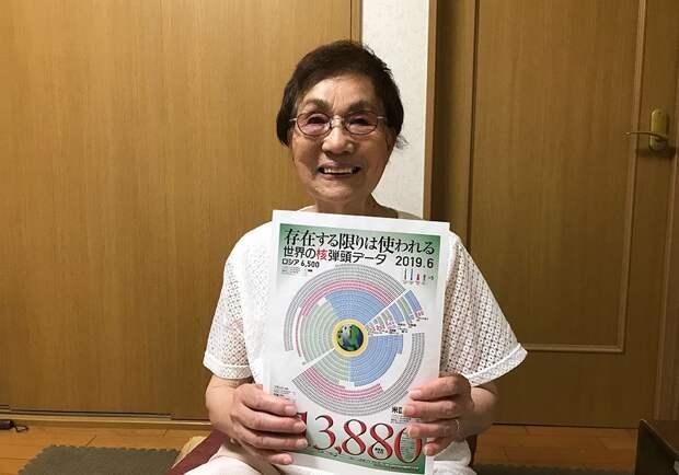 Эмико Окада с диаграммой, отображающей количество и распределение ядерного оружия в мире на июнь 2019 года