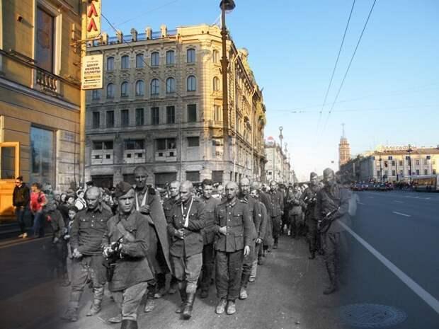 Ленинград 1942-2009 Невский проспект. Пленные гитлеровцы на улицах осажденного города в первое блокадное лето блокада, ленинград, победа