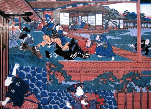 Асано Наганори нападает на Киру Ёсинаку в замке Эдо.