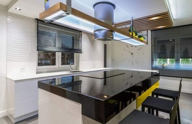 волнистая плитка на кухне