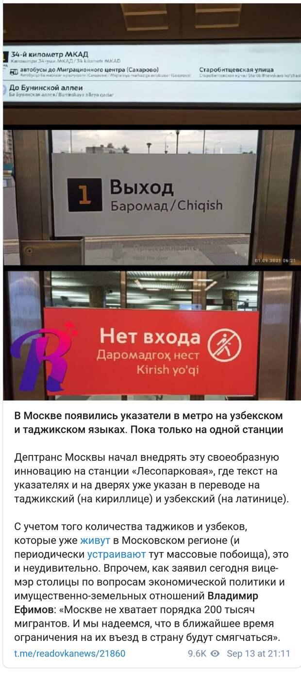 Пассажиры метро Москвы заметили указатели для мигрантов: Пока на одной станции