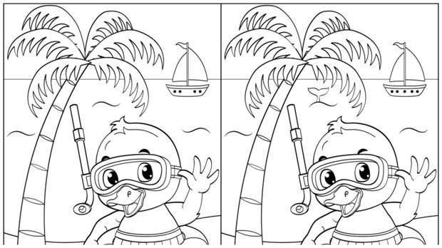 Тест на внимательность: найдите за одну минуту 4 отличия на картинке с веселым утенком