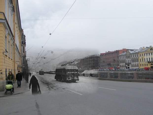 Ленинград 1942-2009 Набережная фонтанки 92. Замерзшие троллейбусы блокада, ленинград, победа