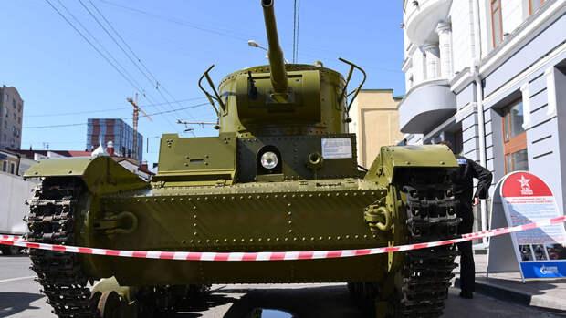 В Уфе на репетиции парада Победы загорелся танк