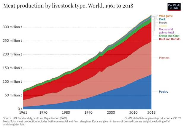 Про производство мяса в мире