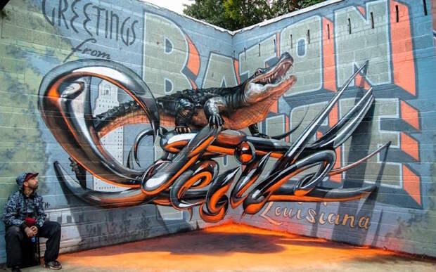 Потрясающее 3D граффити. жизнь, интересные, фото