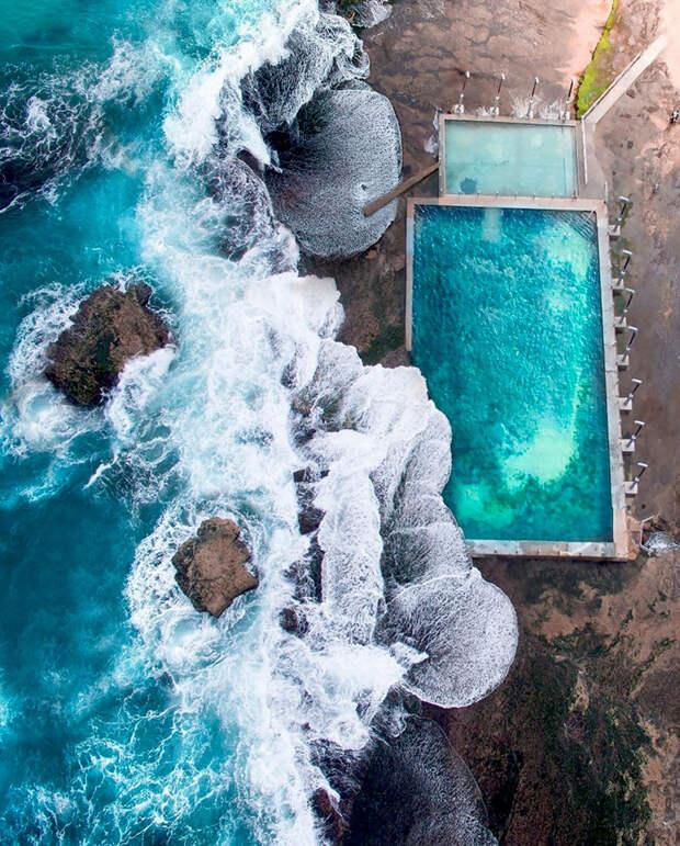 4. Бассейн на пляже Mona Vale, Новый Южный Уэльс, Австралия фото со спутника, фотограф Бенджамин Грант, фотографии