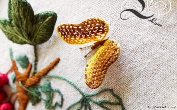 Цветы объемной вышивкой гладью. Красивые работы (19) (691x431, 233Kb)