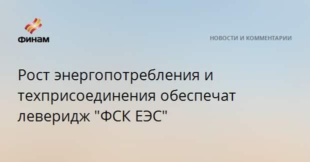 """Рост энергопотребления и техприсоединения обеспечат леверидж """"ФСК ЕЭС"""""""