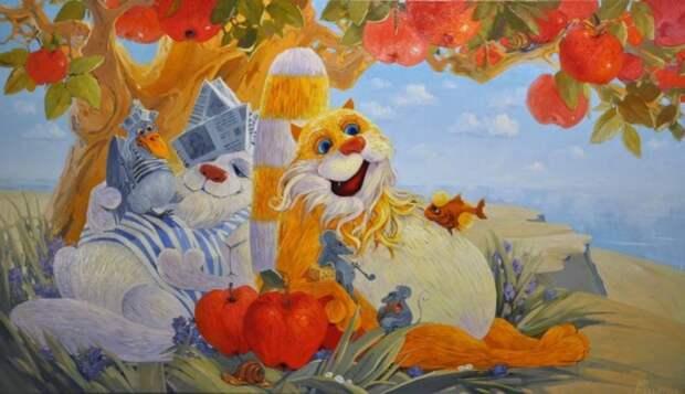 Художник Антон Горцевич. Наивные веселые кошачьи картины