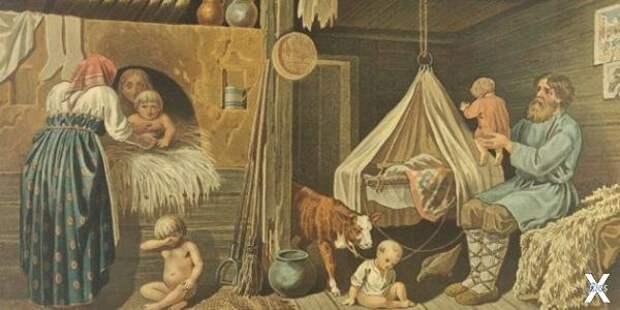 Крестьянские дети зимой в избе, Покро...