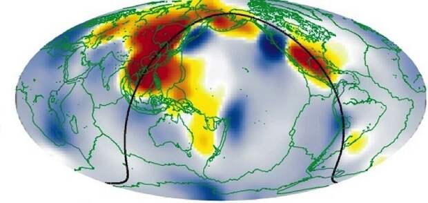 Районы аномального затухания сейсмических волн отмечены на карте красным цветом. Именно под ними и расположены подземные океаны.