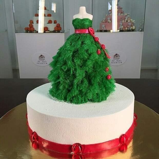 Новогодний торт с платьем