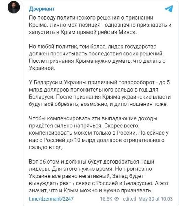 ПРИЗНАЕТ ЛИ БЕЛОРУССИЯ КРЫМ РОССИЙСКИМ?
