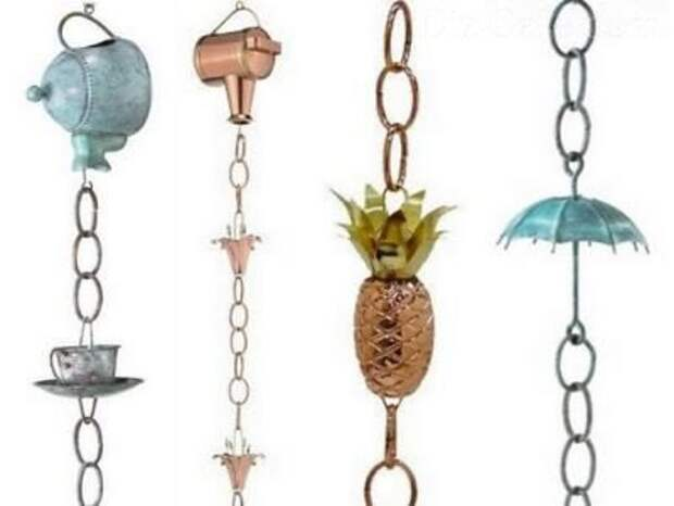 Дождевые цепи как декоративная альтернатива водостокам