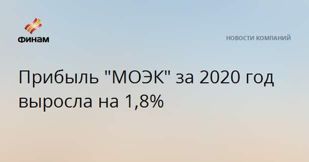 """Прибыль """"МОЭК"""" за 2020 год выросла на 1,8%"""