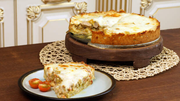 Мясной пирог на подушке из картофельного теста Еда, Кулинария, Рецепт, Пирог, Видео, Длиннопост