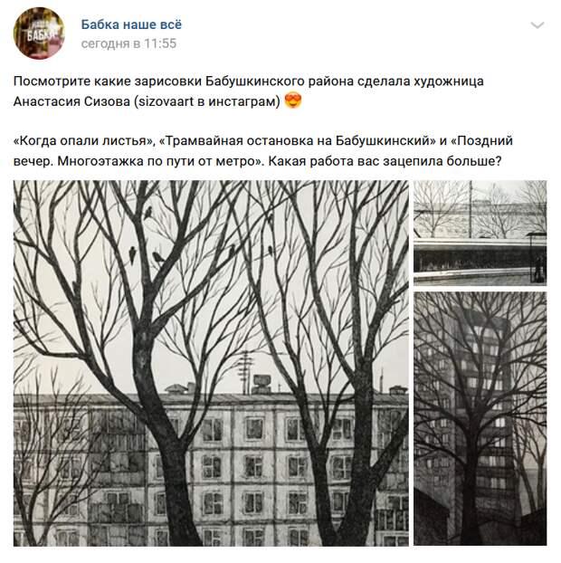 Художница из Бабушкинского запечатлела район в графике