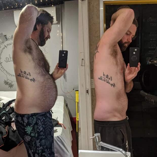 Мужчина бросил вредную еду и похудел