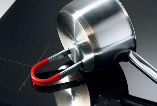 С помощью магнита можно определить подходит ли посуда для индукционной плиты