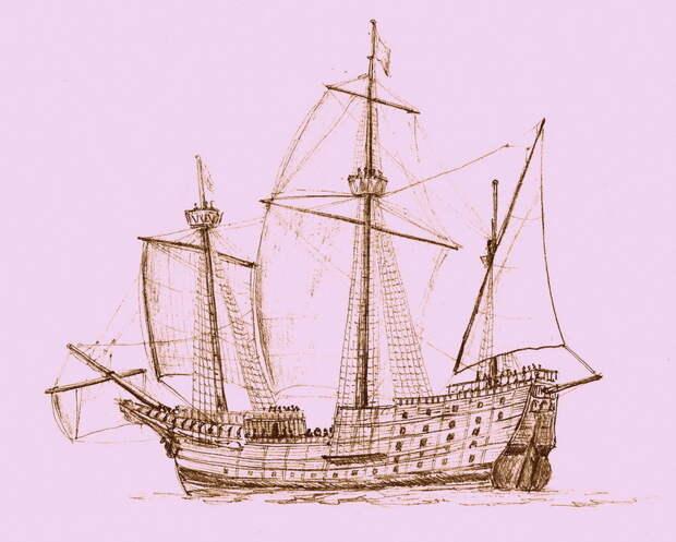 Датский боевой корабль (предположительно «Энгелен»), 1500-е годы - Шведская «Игра Престолов»: сельди в бочках | Военно-исторический портал Warspot.ru