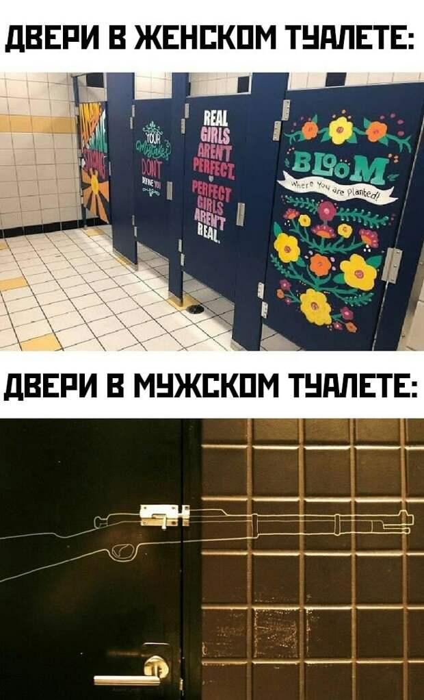 Мужской и женский туалет (двери)