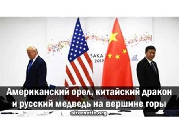Американский орел, китайский дракон и русский медведь на вершине горы