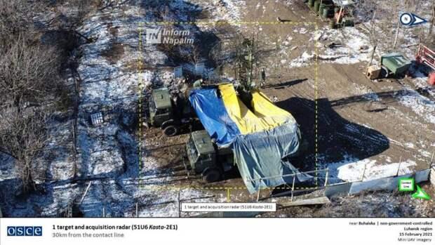 Российская РЛС «Каста-2Е1» в цветах украинского флага замечена на территории ЛНР