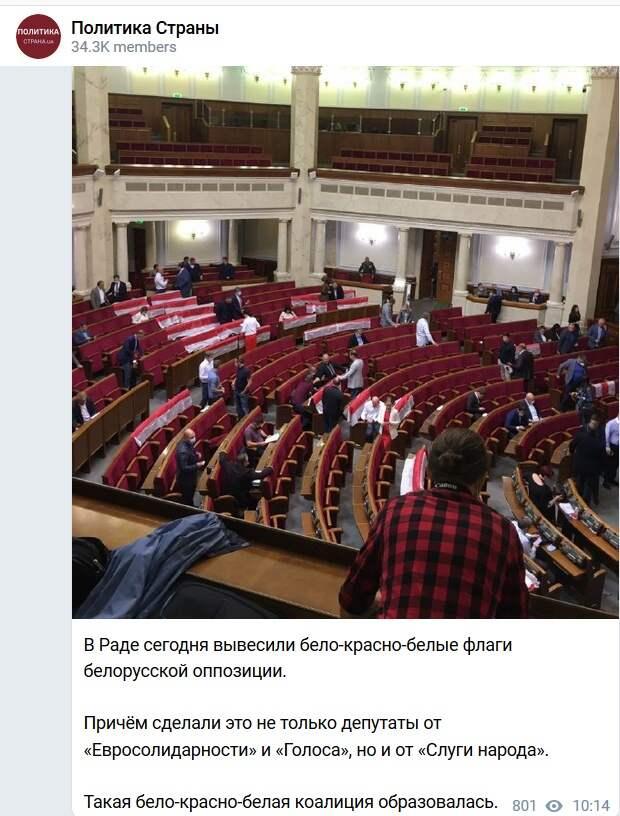 Раду украсили флагами белорусской оппозиции