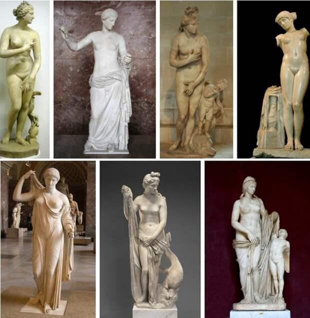 Популярные варианты статуй прямостоящих Венер