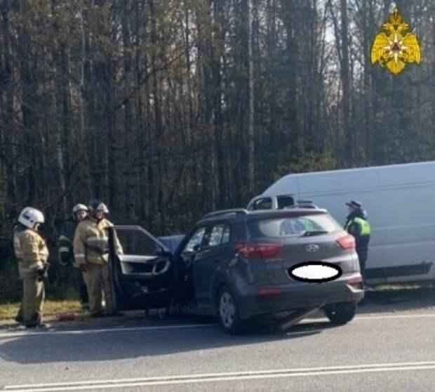 Водитель Hyundai погиб в столкновении с фургоном на Киевской трассе