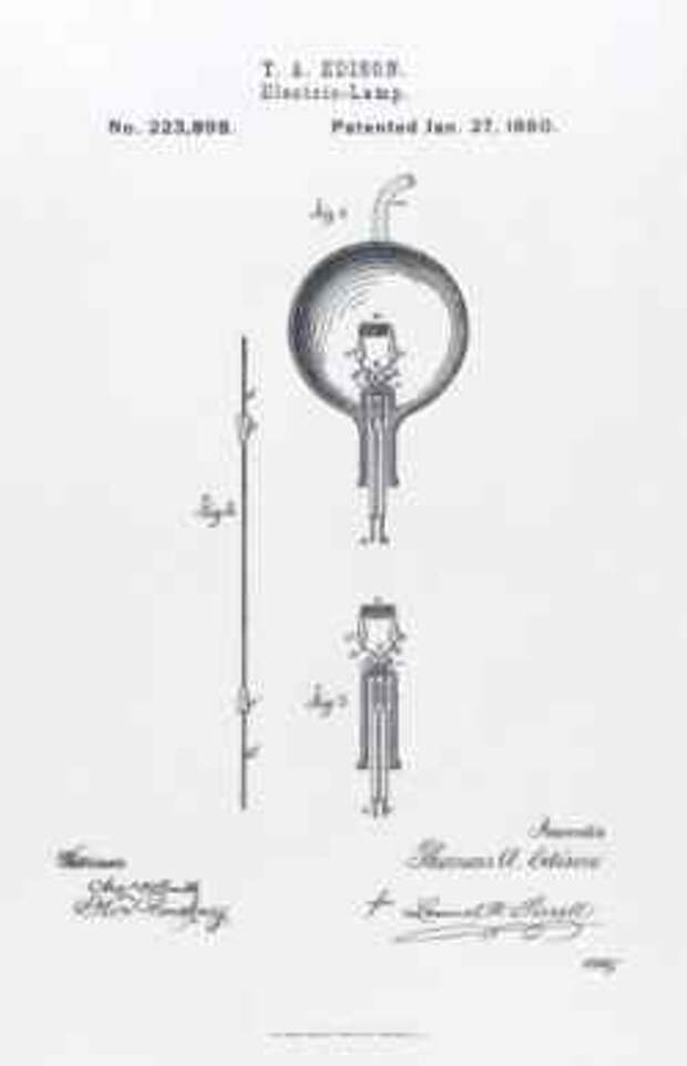Патент на электрическую лампочку.