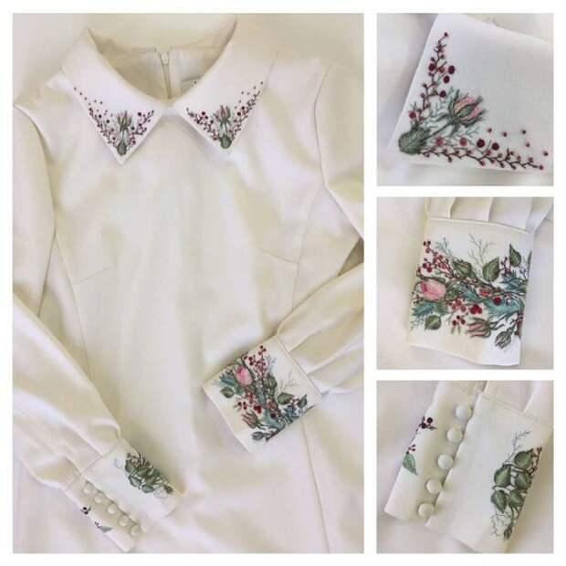 Вышитая цветами блузка