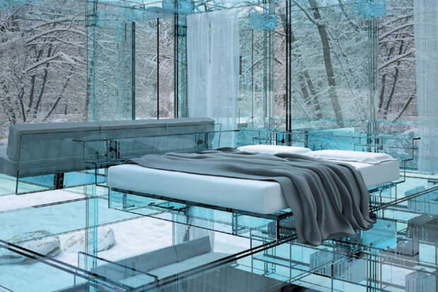 Стеклянный пол будет особенно классно смотреться в двухэтажных домах. А при желании можно и всё остальное из стекла сделать. дизайн интерьера, полы