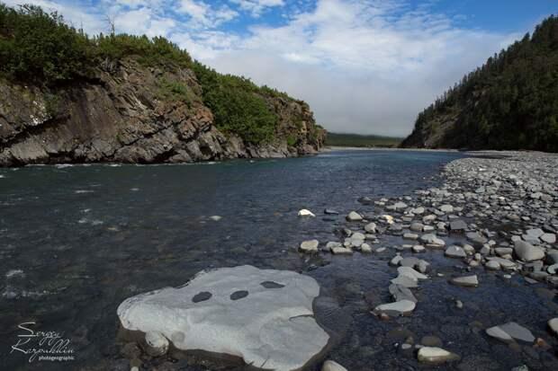 Река Делькю - одна из рек восточного склона Момского хребта. Долина этой реки входила в маршрут экспедиции с выходом на реки Бадяриха и Ожогина, в ресурсный резерват Эселях.
