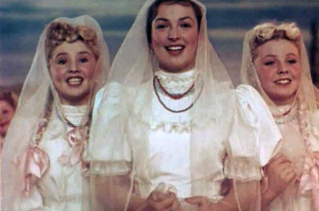 Екатерина Савинова, Клара Лучко и Клавдия Хабарова в фильме «Кубанские казаки», 1949 год