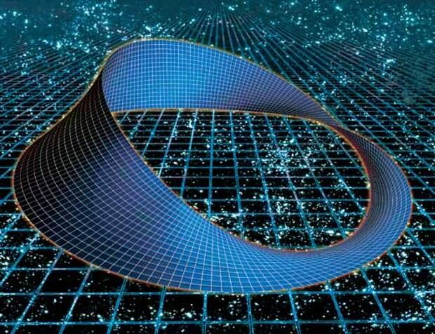Бесконечно широкий и не пересекающий сам себя лист Мебиуса не помещается в трехмерное пространство — он может существовать только в четырехмерном