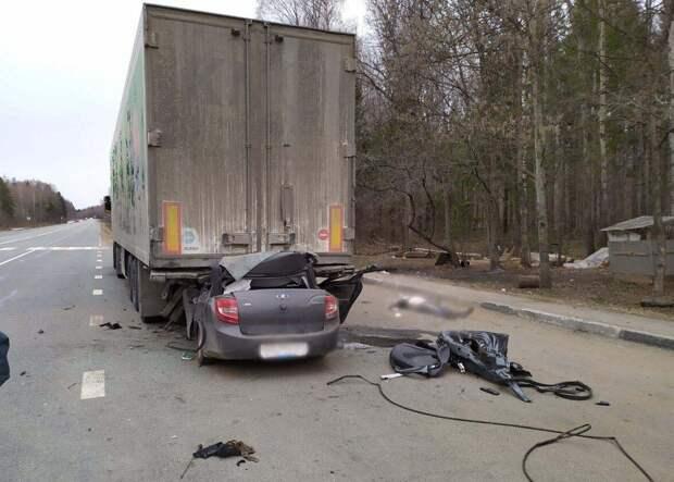 В Удмуртии водитель «Лады Гранты» погиб, врезавшись в припаркованную фуру