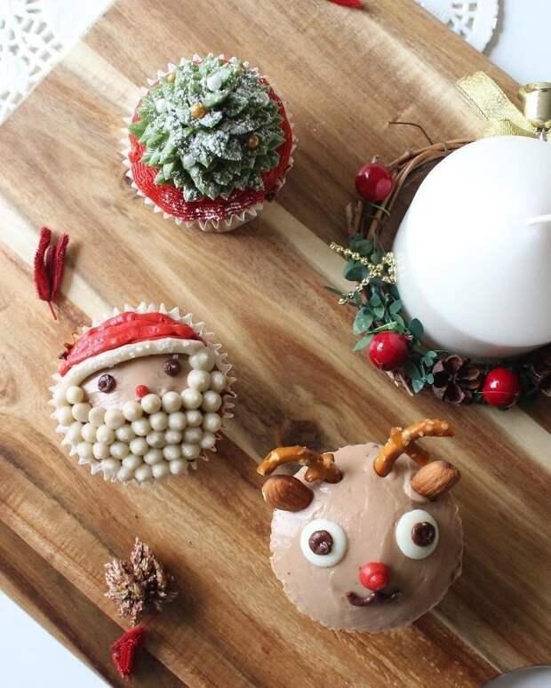 Самые творческие идеи оформления новогодних капкейков выпечка, дизайн, капкейки, креативно, необычно, новогодний стол, оформление, празничное меню