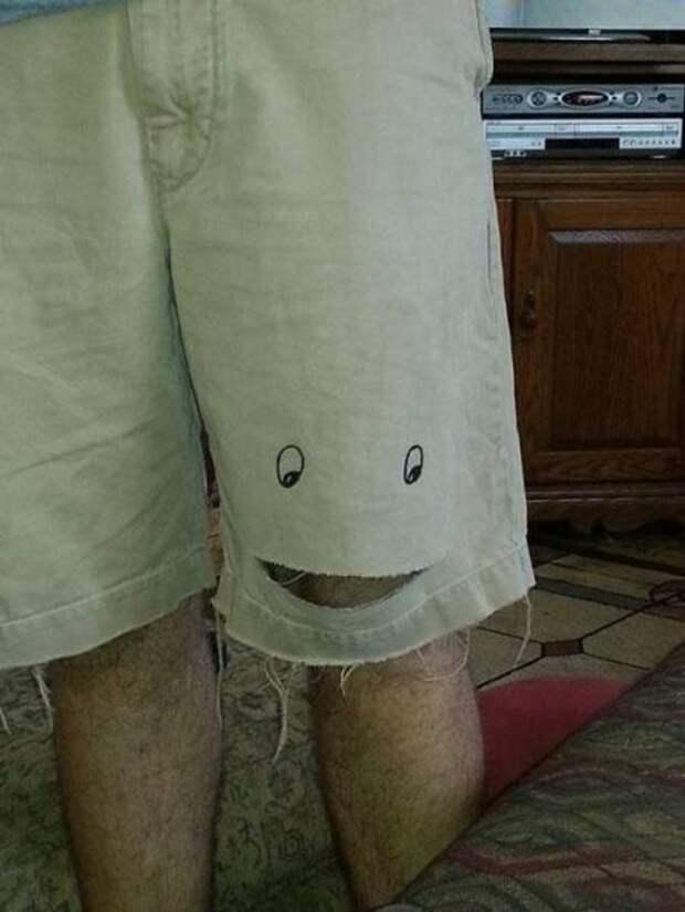 Когда неожиданно порвались шорты починил, смекалка, юмор, ясделяль