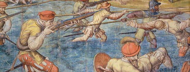 Имперская (испанская?) пехота в Тунисе в 1535 году. Эскиз Яна-Корнелиуса Вермейена «Битва при Тунисе» в Венском музее искусств - Война Священной Лиги в 1539 году: падение Кастельнуово | Warspot.ru