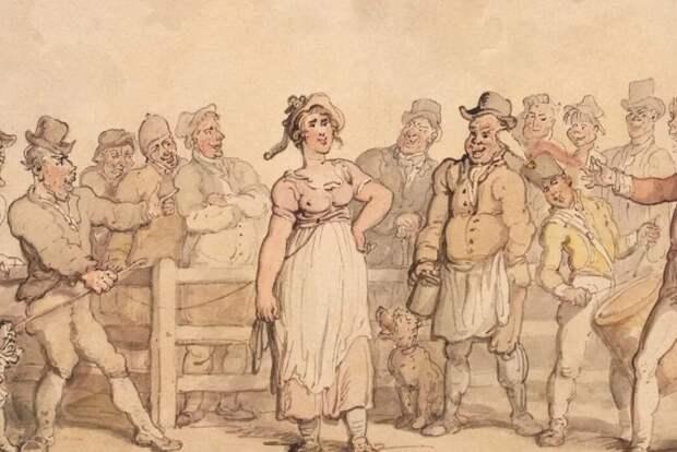 Жен продавали рядом с крупно рогатым скотом.