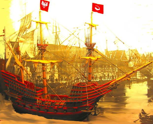 Польский галеон Smok, спущенный на воду в 1571 году. Реконструкция - Польский орёл над Балтикой   Warspot.ru