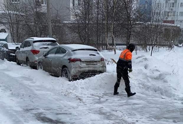 Уборка последствий снегопада в Митине идет поэтапно — Жилищник