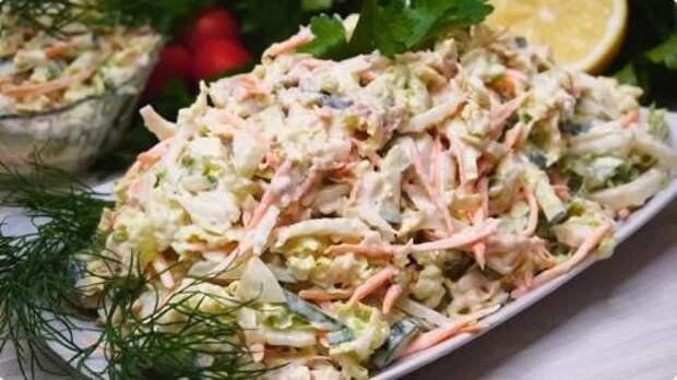 Рецепт изумительного салата с капустой и печенью трески. Буду готовить его на Новый Год