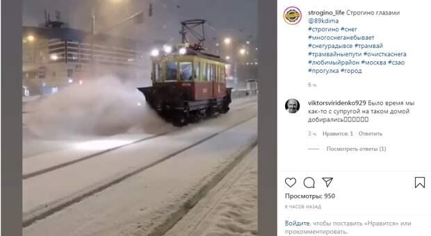 Фото дня: трамваи-снегоуборщики в Строгине