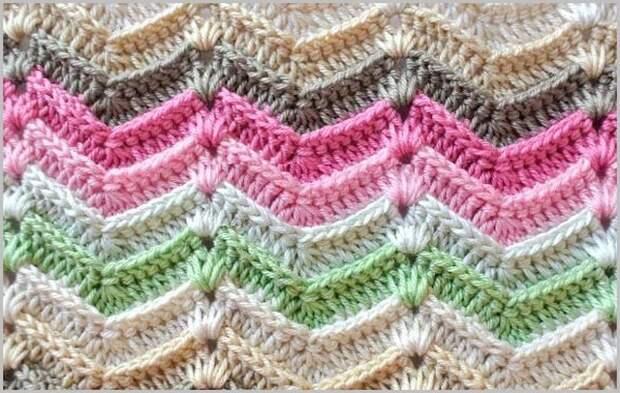 Многоцветные красивые узоры спицами и крючком
